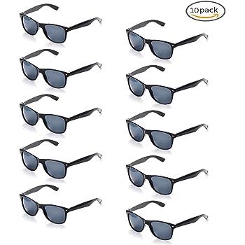 d4c8c73605ba7b ONNEA 10 Paires Pack de Lunettes de Soleil Fetes Couleur pour Adulte Enfant  Annee 80 (Noir 10-Pack)