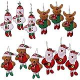 anaoo 12pcs Adornos decoración Colgante muñecos Santa muñeco de Nieve para árbol de Navidad decoración de Fiesta de Navidad-M