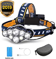OUTERDO Lampe Frontale Super Brillante à 8 Del de 13 000 Lumens Lampe Frontale USB avec 2X Piles Imperméable pour Le...