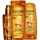 L'Oréal Paris Routine Capelli Olio Straordinario, Box con Shampoo Nutriente, Balsamo Nutriente e Olio Sublimatore per Capelli