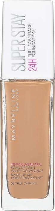 Maybelline New York Superstay 24H Full Coverage Foundation - 30 ml, True Caramel 58