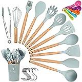 CORAFEI 11 PCS Set d'Ustensiles de Cuisine en Silicone et Bois Spatule Louche Cuillère antiadhésif avec Pot de Rangement (10