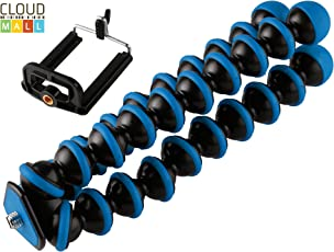 CloudMall 10 inch Lightweight Flexible Gorillapod Tripod with Mobile Attachment for DSLR, Action Cameras, Digital Cameras & Smartphones - Black and Blue