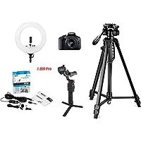 Canon EOS 1500D Digital SLR Camera with EF S18-55 is II Lens, 16GB Card Vlogging Bundle with Digitek 550LW Tripod, Digitek 18 inch Ring Light, Boya BYM1 lavalier Microphone, DJI Ronin SC Gimbal