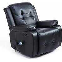 HOMCOM Fauteuil de Massage Relaxation électrique Chauffant inclinable 150° avec Repose-Pied Ajustable revêtement…