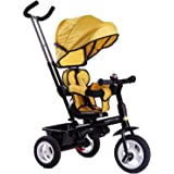 Baybee Mario Sportz Trikes Baby/Kids Cycle   Tricycle with Canopy and Parental Adjust Push Handle   Smart Plug   Play with Ru