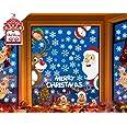 CheChury Pegatina Copo de Nieve Alce Decoración de Navidad Lindo Santa Claus Ventana Pegatinas de Pared Ventana Extraíble PVC