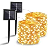 BHCLIGHT 2 Pack Solar String Lights, Upgraded Durable 200 LED Solar Lights Outdoor, Waterproof Copper Wire 8 Modes Fairy Ligh