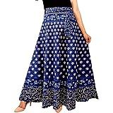 UniqueChoice Women's Printed Cotton Wrap Around Skirt (Dark Blue, Free Size)…