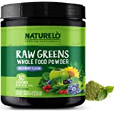 NATURELO Raw Greens Superfood Powder - Wild Berry Flavor - Boost Energy, Detox, Enhance Health - Organic Spirulina - Wheat Gr