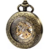 MORFONG Men's Women's Pocket Watch Steampunk Skeleton Mechanical Copper Fob Retro with Box Chain
