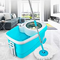PYXBE Prime Mop with Big Wheels and Stainless Steel Wringer Bucket Mops Havy (Aqua Green, 2 Refills)