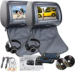 EinCar Schwarzes 2 PCS-Auto-Kopfstütze Dual DVD Player 7 '' HD-Display-Bildschirm mit eingebautem IR-FM-Transmitter 32 Bit Spiele USB-Sd MP3 für Unterhaltung IR Freie Kopfhörer x 2