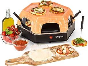 Klarstein Capricciosa Pizzaofen für 6 Personen • Pizzadom • elektrisch • 1500 Watt • 5-7 Min. Backzeit • Terracotta-Abdeckung • Warmhaltefunktion • schwarz