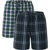 LAPASA 2 Pack Men's Lounge Shorts Relaxed Fit Madras Shorts M92 / M93