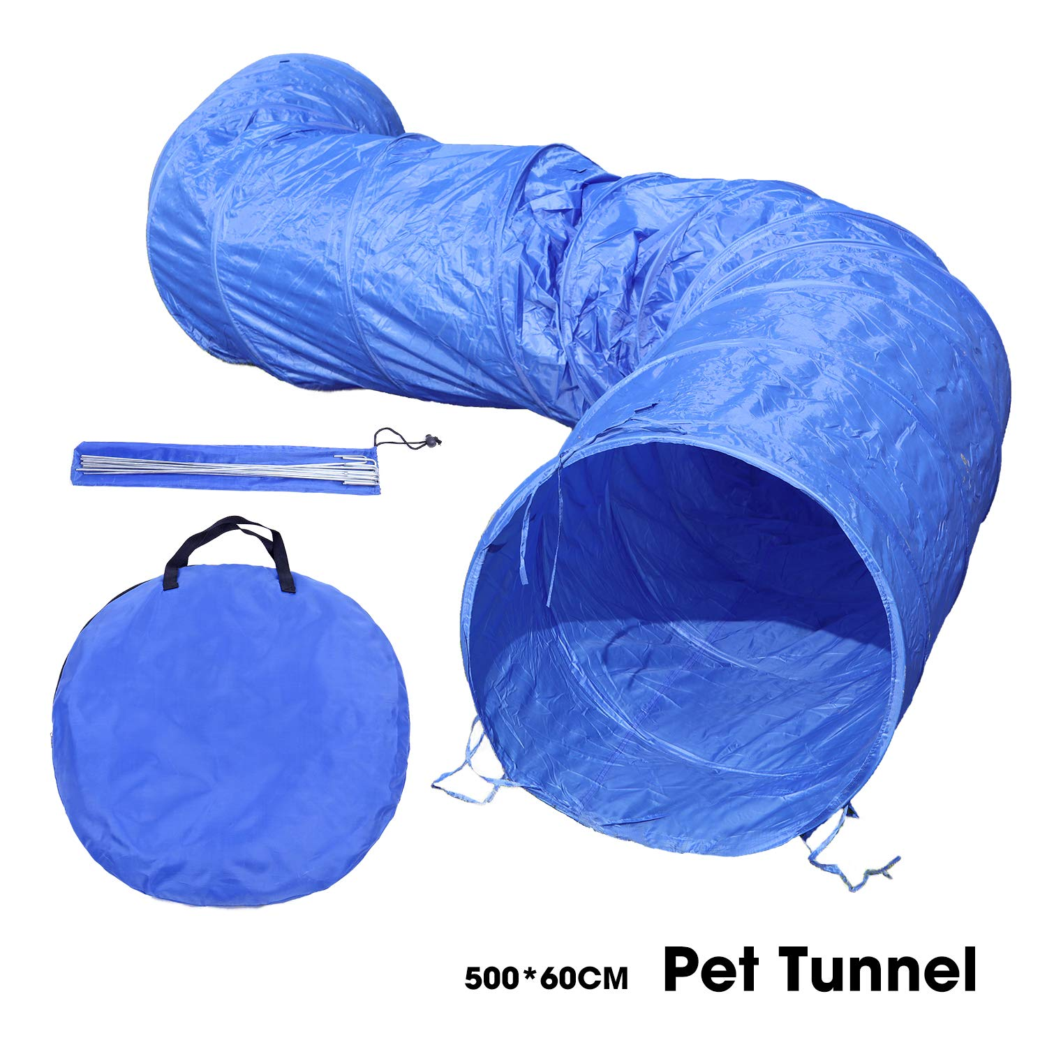 OHANA 5 Meters XL Large Dog Agility Tunnel, Dog Obstacle Equipment, Outdoor Dog Tunnel for gardens with 12pcs ground nails