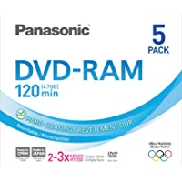 Panasonic 3x speed, 4.7GB, 5 pack DVD-RAM Disc