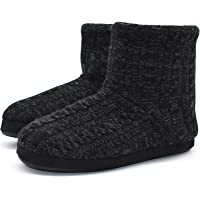 KuaiLu Mens Slippers Knitted Wool-Like Plush Fleece Lined Slipper Boots Winter Warm Cozy Non-Slip Rubber Sole House…
