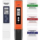 Testeur pH Electronique, Testeur pH Piscine Mètre TDS/EC Température 4 en 1 Set,Testeur pH Electronique pour l'eau Potable, A
