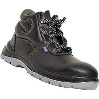 Allen Cooper 1008 Hi-Ankle Safety Shoe (Size-5 UK, Black) (Free Socks)