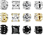 FIBO STEEL 6 Pairs Stainless Steel Magnetic Stud Earring for Men Women CZ Magnet Non Pierced Clip On Earrings Set