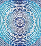 Blue Ombre Indian Wall Hanging Hippie Mandala Tapestry Bohemian Bedspread Ethnic Dorm Decor by Montreal Tappassier