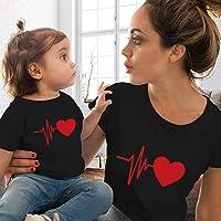 MUMEOMU Tenue Parent-Enfant, Robe Familles Assortie, T-Shirt pour Enfant Femme modèle Famille Maman bébé en différentes…