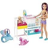 Barbie- Nurserie Skipper Playset, Bambola con Bambolotti, Lettino, Fasciatoio e Tanti Accessori, per Bambini 3+ Anni, Multico
