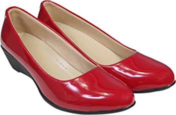 KOMOPT Red Colour Synthetic Material Casual/Formal Bellies for Women - Formal Belly for Girls with Low Heel