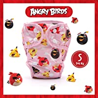 PAW PAW Angry Birds Reusable Cloth Diaper for Babies/Washable Cloth Diapers with Inserts (Small, 3-6 Kg), Angry Birds