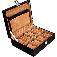 Leather World 8 Slots PU Leather Men Watch Box Display Organizer Case Women Storage Jewellery - Black