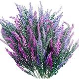 SnailGarden Lot de 6 Fleurs Artificielles Bouquet de Lavande,Réaliste de Lavande & Sac en Papier Brun pour Décoration de Mari