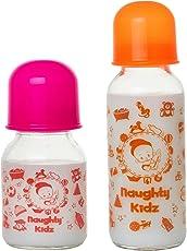 Premium Glass Feeding Bottle with Premium LSR Nipple- PINK-120ML+ORANGE-240ML