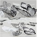 WandSticker4U® - Set van 36 3D-vlinders met glitters, zwart-wit, vlinderdecoratie, raammeubels, knutselen, bruiloft, tafeldec