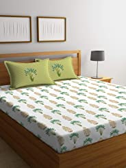 Portico Shalimaar 100% Cotton Flat Super King Bedsheet with 2 Pillow Cover- Printed (White with Green) 274x274 cm