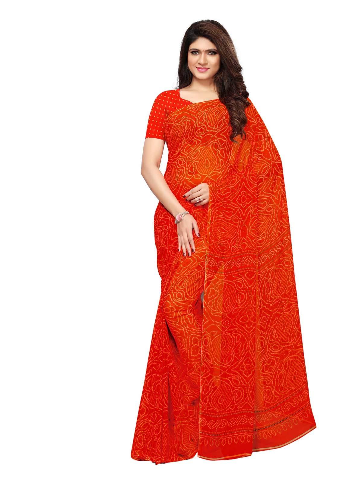 Kanchnar Women's Georgette Bandhani Print Saree