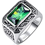BONLAVIE Silver Rings for Men 6.85ct 8X12mm Radiant Cut Created Emerald 925 Sterling Silver Wedding Engagement Band Size 6-14