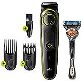 Braun BT 3241 Saç&Sakal Şekillendirici, Kablosuz, Yıkanabilir, Kuru Kullanım + Gillette Hediye, Siyah/Yeşil