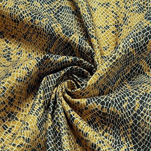 Stoff Baumwolle Lycra Köper gelb Schlange Hemd Bluse Rock Animal Print (Lycra-hemd)