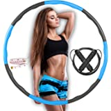 Weighted Hula Hoop For Adult Exercise Foam Padded Smart Wavy Hoop With Skipping Rope & Measuring Tape For Indoor/Outdoor Use