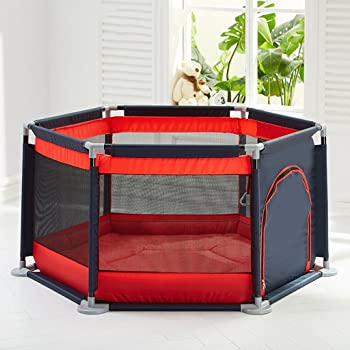 Folded Play Yard with Door for Baby Metal Fence 6 Panel Kids Activity Center for Boys Girls Outdoor Indoor Home Red Playards Activity & Entertainment
