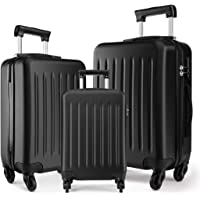 """Kono Luggage Sets 3pcs Hard Shell Suitcases with 4 Spinner Wheels Light Weight ABS Travel Trolley Case 19"""" 24"""" 28"""" (3 Pcs Set, Black)"""