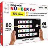 PLAY POCO Magnetic Number Fun - with 80 Number Magnets, 64 Operator Magnets, Magnetic Board and Equation Book - Learn Numbers