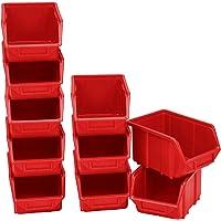 Lot de 10 bacs empilables en plastique PP 240 x 155 x 125 cm 2 rouges