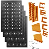 METALLMOBELL-Panel de Herramientas Metálico de 160x60x2Cm, Kit de 4 Paneles Perforados 40x60x2Cm+ Kit de Accesorios ganchos y