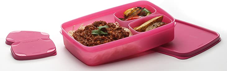 Signoraware Compact Lunch Box Set, 850ml, Set of 3, Pink