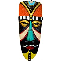 Hand Art Terracotta Wall Hanging Egyptian Mask for Home Decor (Multicolour)