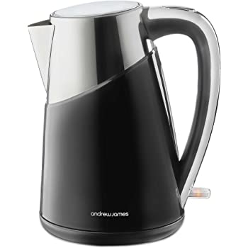Andrew James Apollo Kettle | Electric Cordless Fast Boil Jug Kettle with Reusable Filter | Double Walled Insulation & Silicone Sealed Lid with Boil Dry Protection | 1.7 Litre | 3000W | Black & Stainless Steel