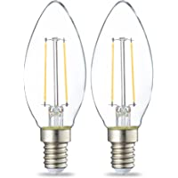 Amazon Basics LED E14 Small Edison Screw Candle Bulb, 2.1W (equivalent to 25W), Clear Filament- Pack of 2