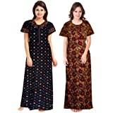 NEGLIGEE Women's Cotton Printed Ankle Length Nighty(Pack of 2)(Color_ Black & Brown_Free Size)